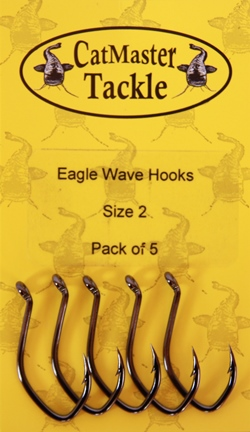 CatMaster Tackle Eagle Wave Hooks sizes 4 to 1( packs of 5 hooks)